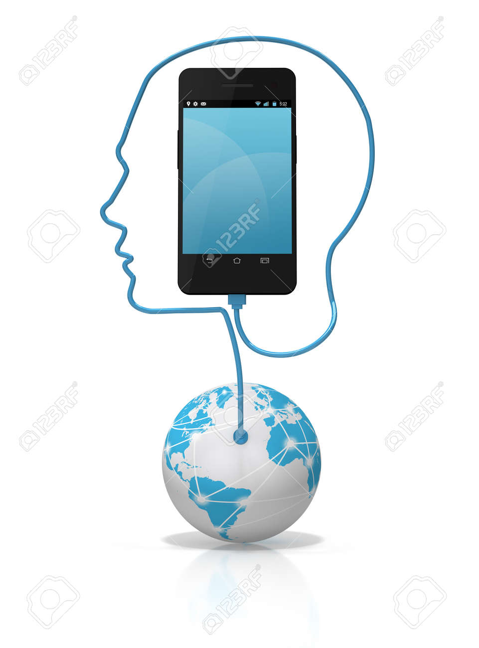 A global network cable forming the silhouette of a head plugged into a smart phone over a white background. Add your own text or icons to the screen. Stock Photo - 17141284