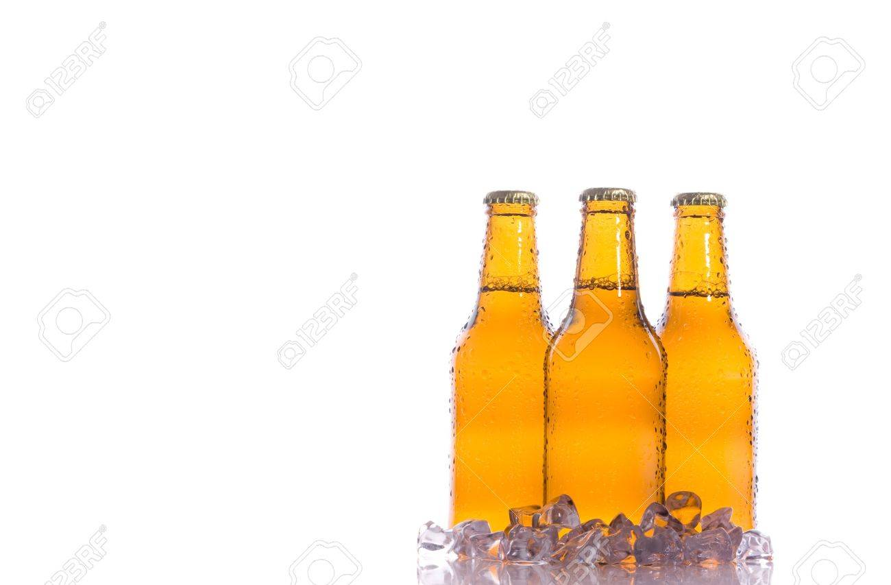 Three isolated fresh beers with ice Stock Photo - 3937037