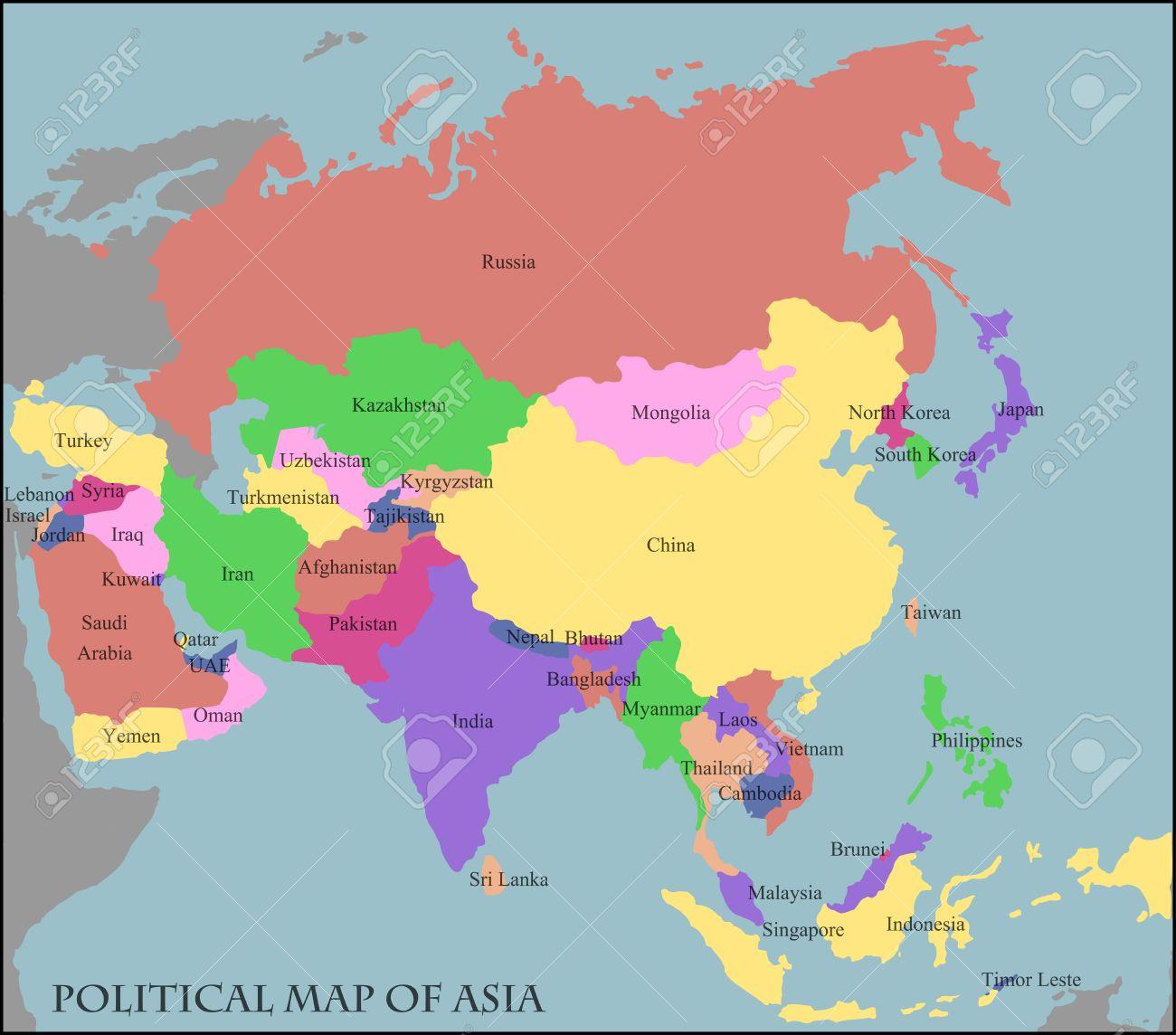 Mapa Político De Asia.Mapa Politico De Asia