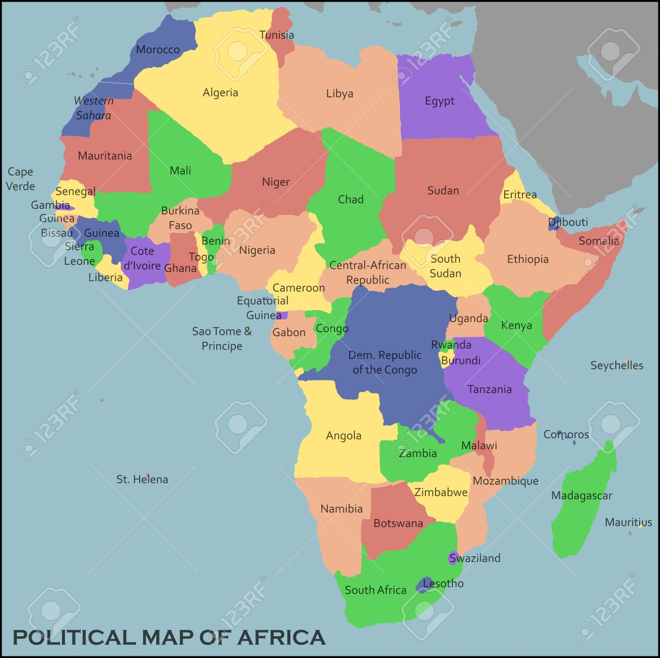 Political Map Of Africa Royalty Free Cliparts Vectors And Stock - Political map of africa