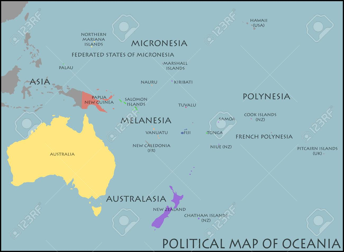 Political Map Of Oceania Royalty Free Cliparts Vectors And Stock