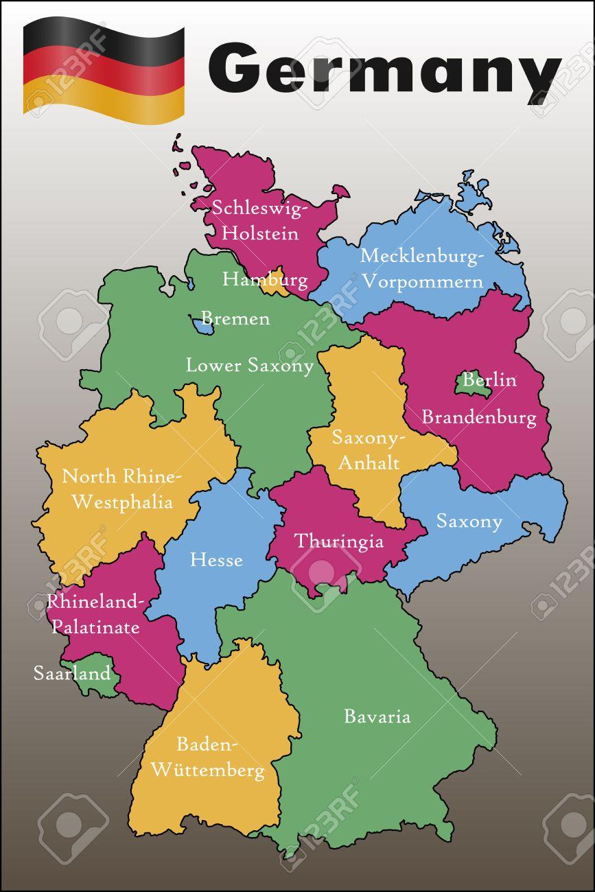 Mapa De Alemania Politico.Mapa Politico De Alemania