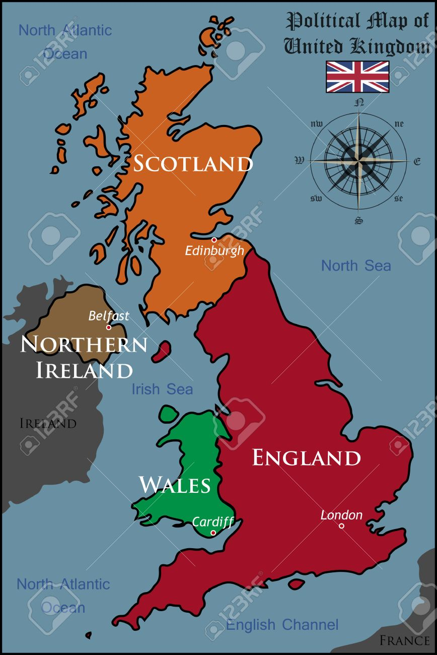 Political Map Of United Kingdom Royalty Free Cliparts Vectors And