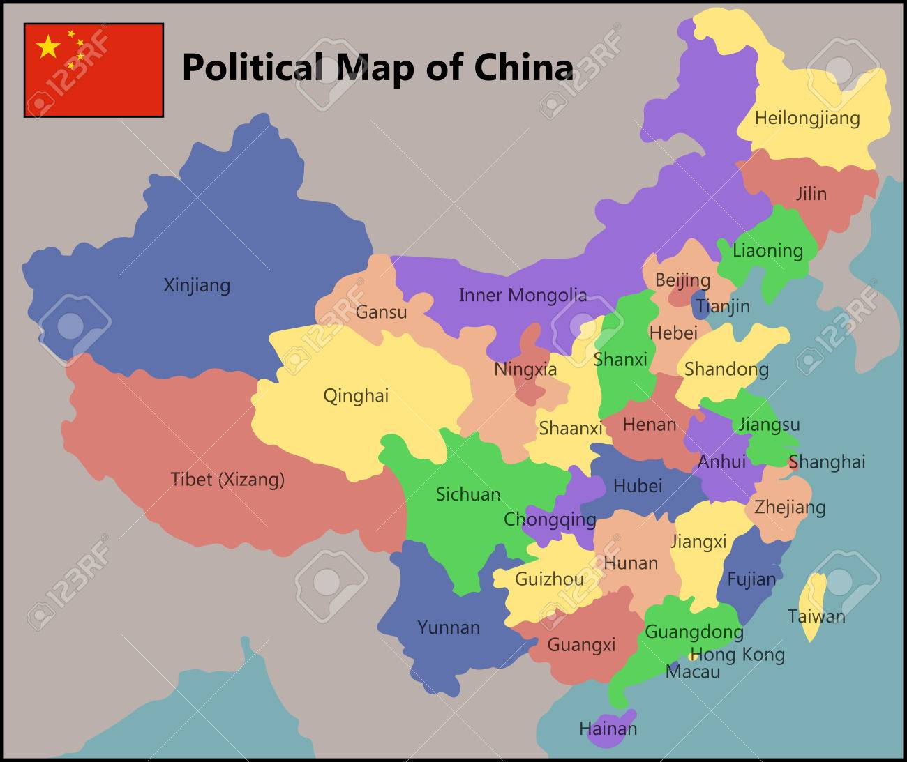 Political Map Of China Political Map Of China Royalty Free Cliparts, Vectors, And Stock
