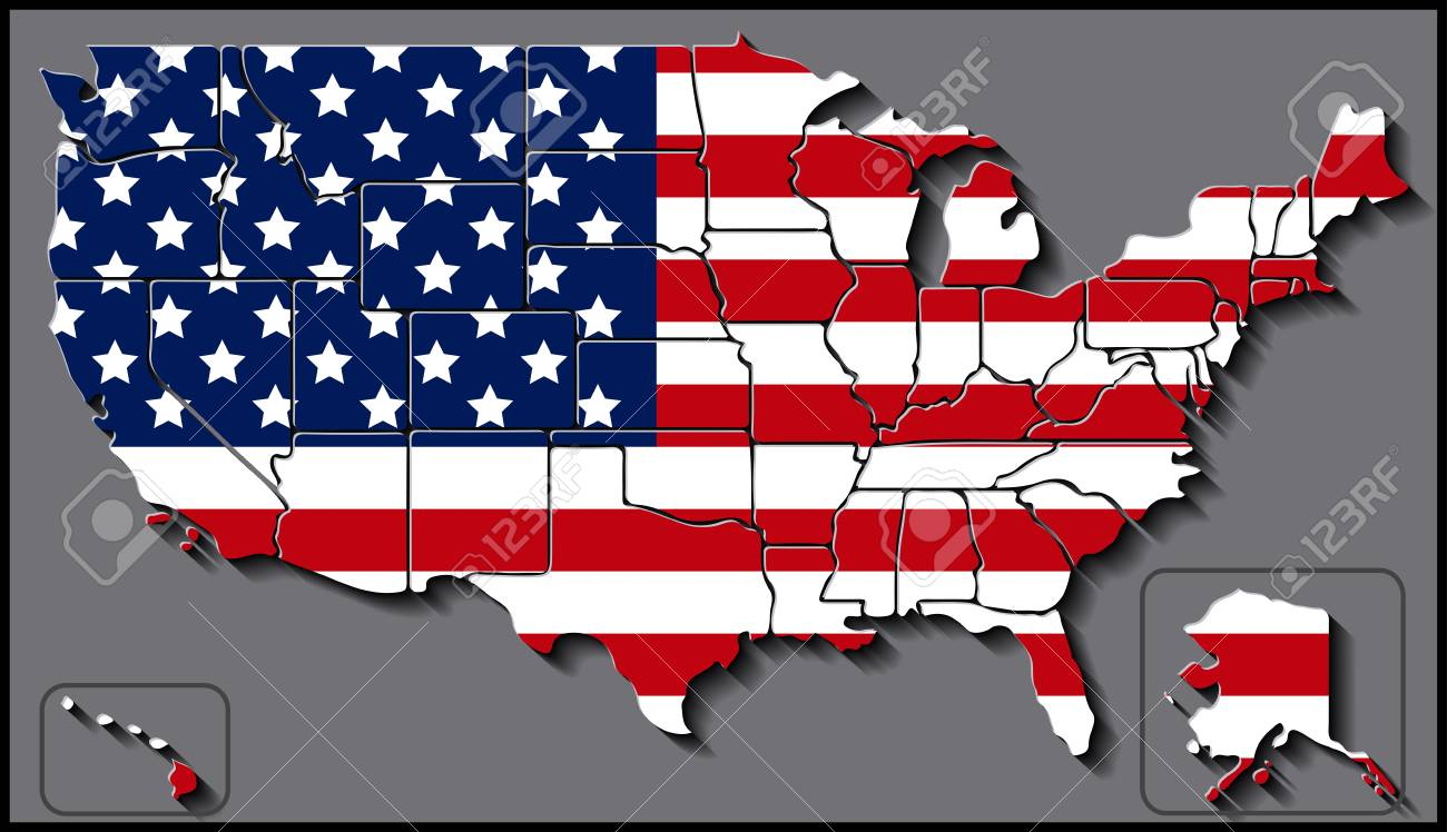 USA Map With Flag Background Royalty Free Cliparts, Vectors, And ...