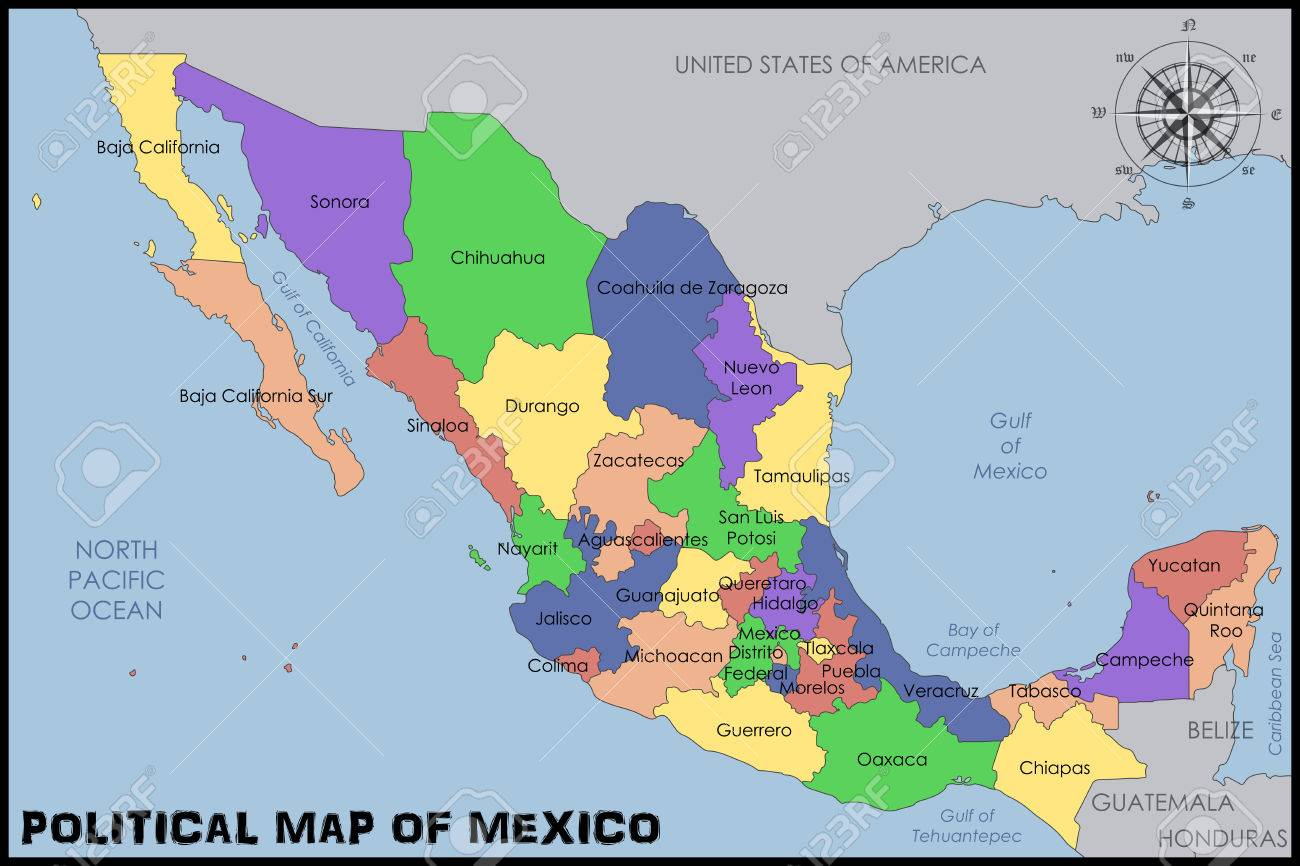 Political Map Of Mexico Royalty Free Cliparts Vectors And Stock
