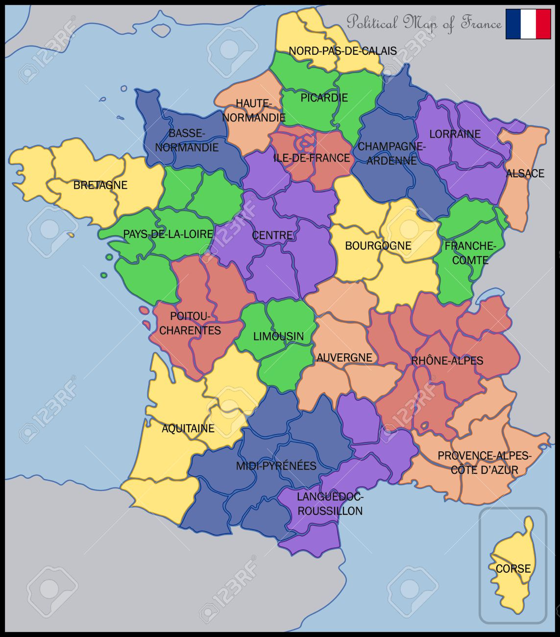Mapa Politico De Francia Ilustraciones Vectoriales Clip Art