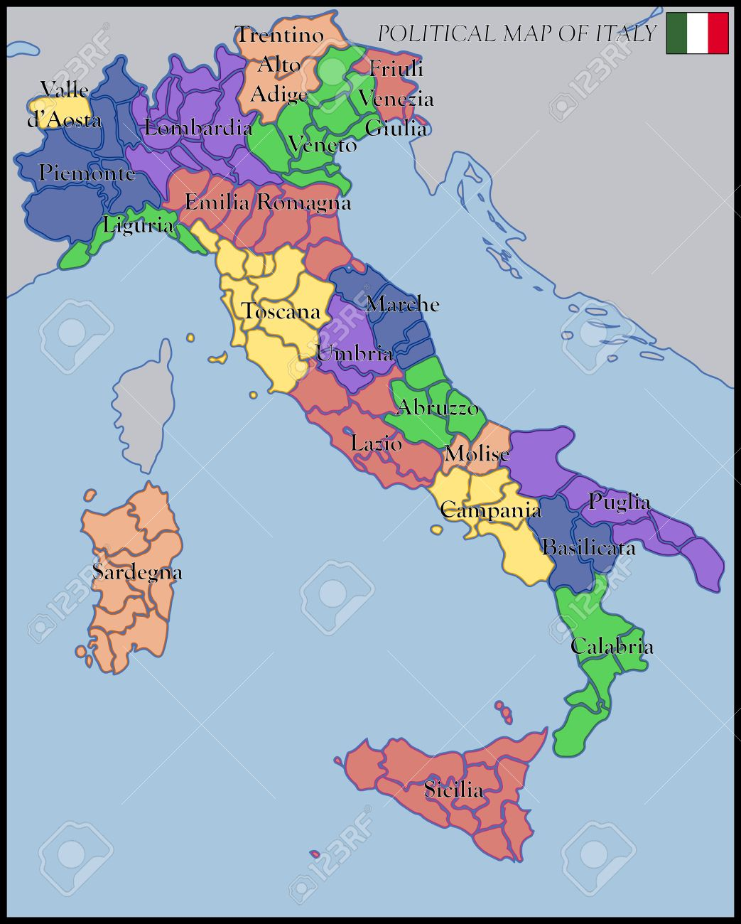 Political Map Of Italy Royalty Free Cliparts Vectors And Stock