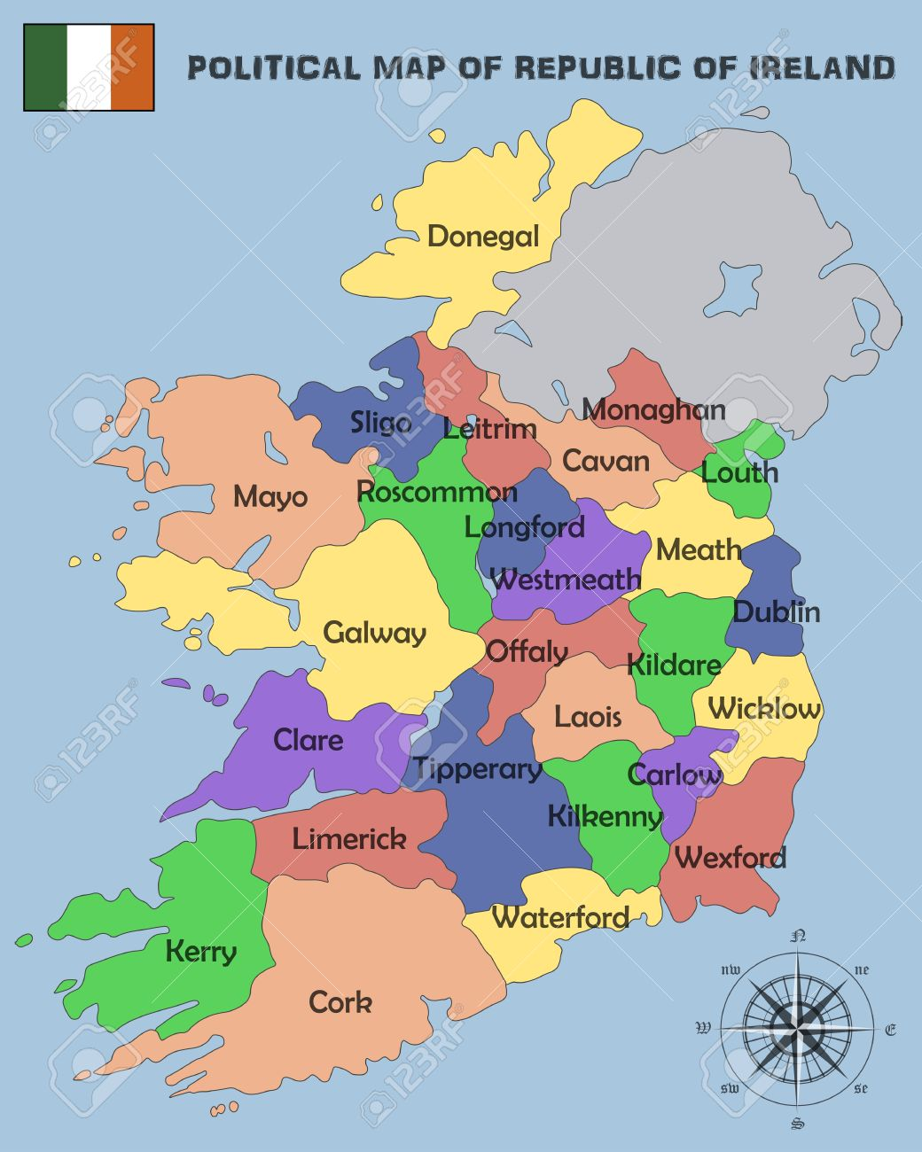 Political Map Of Republic Of Ireland Royalty Free Cliparts - Ireland political map