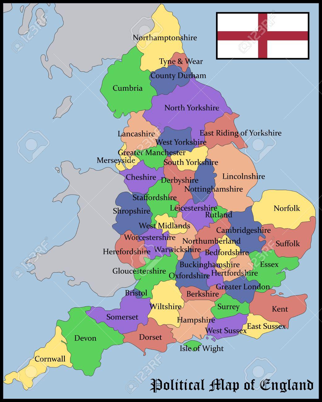 Inglaterra Mapa Politico | Vlooienmarkteninfo