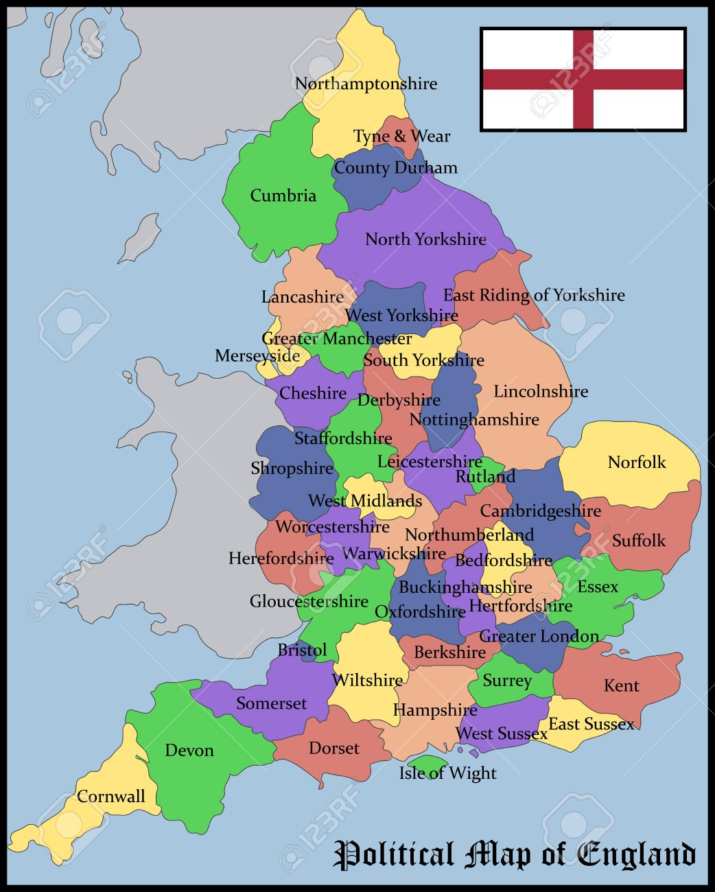 Political Map Of England Royalty Free Cliparts Vectors And Stock