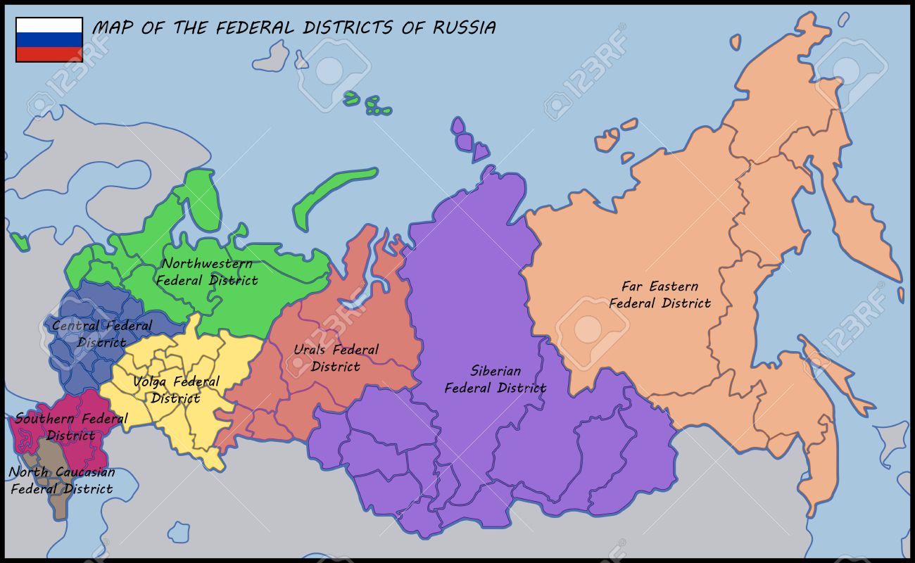 Map Of The Federal Districts Of Russia Royalty Free Cliparts Map Of Us Federal Court