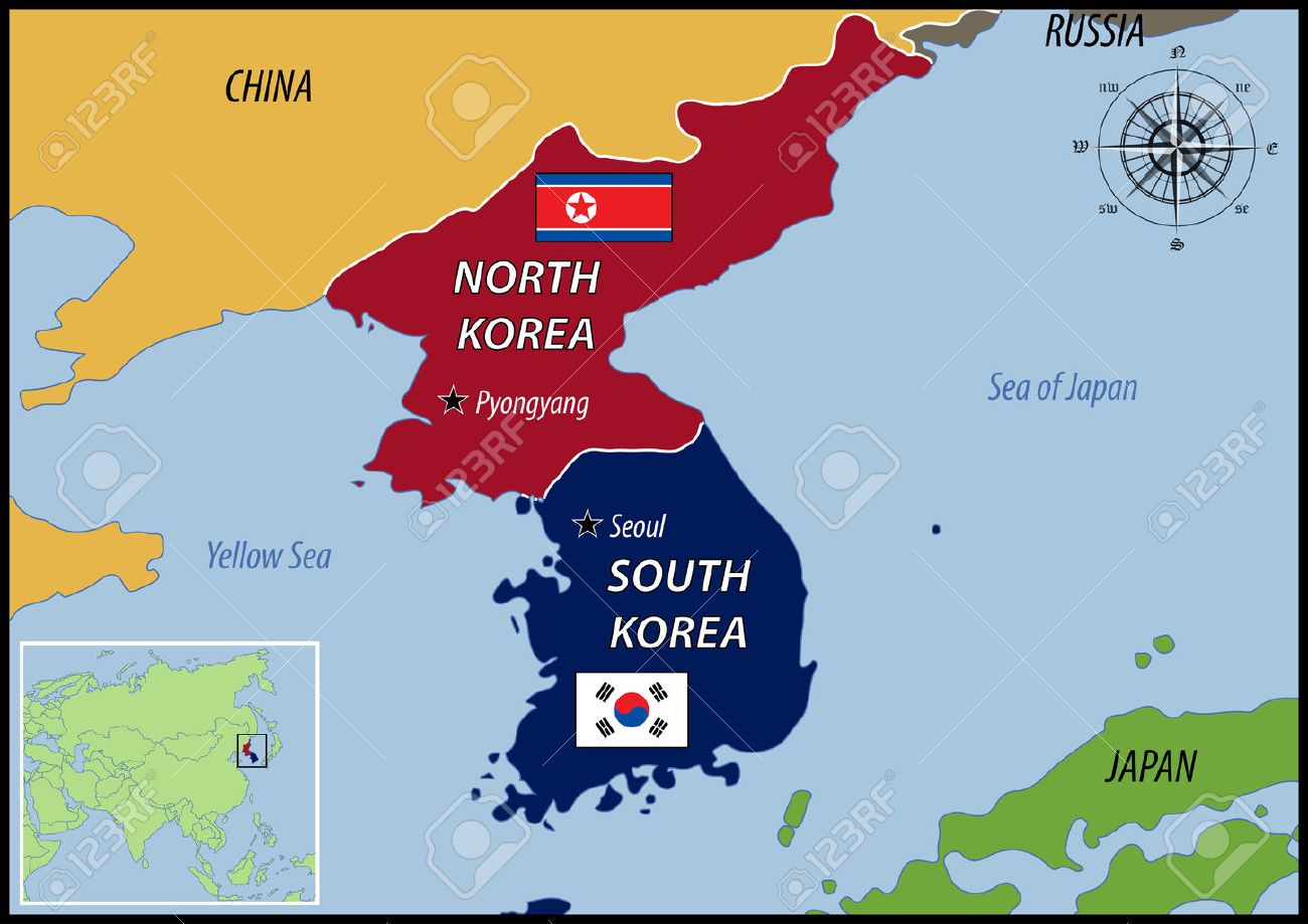 Map Of Location Of Korea And Flags Royalty Free Cliparts Vectors - South korea map