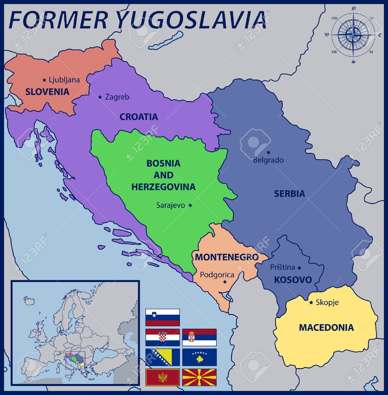 map location and flags of the former yugoslavia royalty free