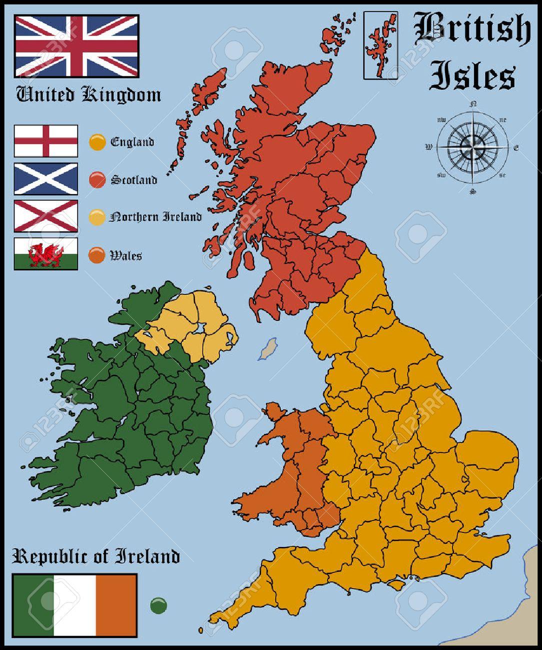 地図とイギリス諸島の国旗のイラスト素材・ベクタ - Image 42028357.