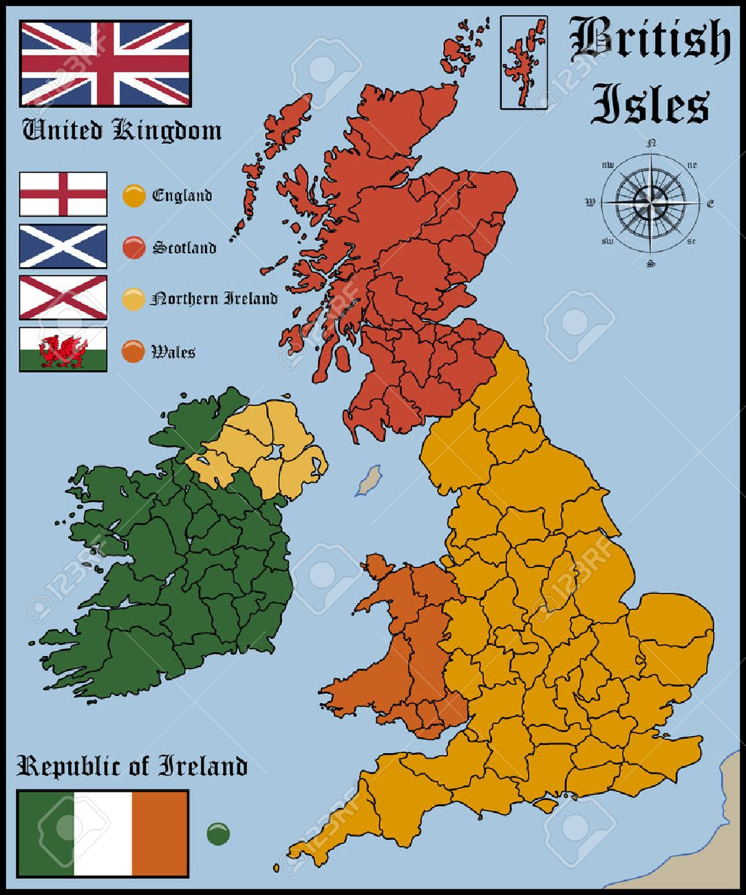 Map And Flags Of British Isles Royalty Free Cliparts, Vectors, And ...