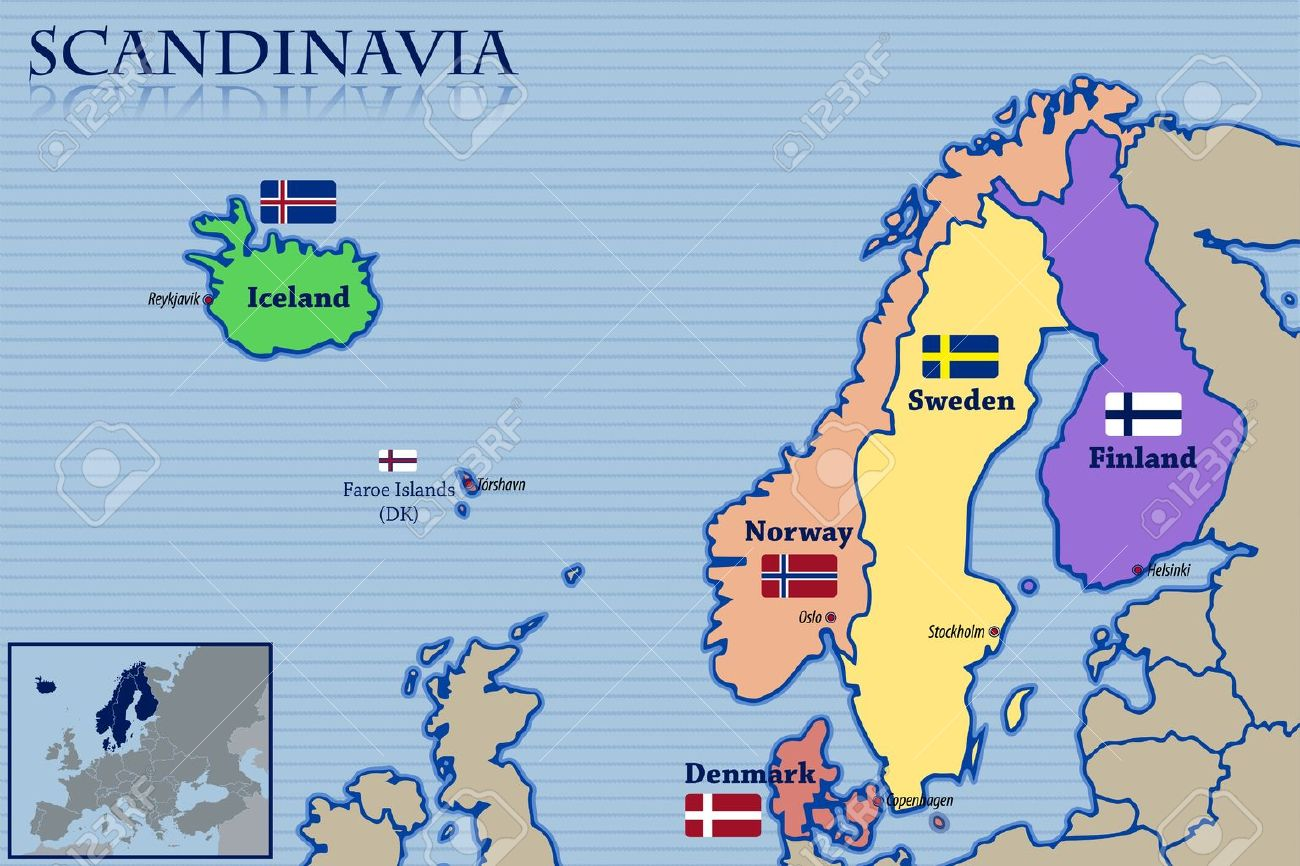 Location Map And Flags Of Scandinavia Royalty Free Cliparts