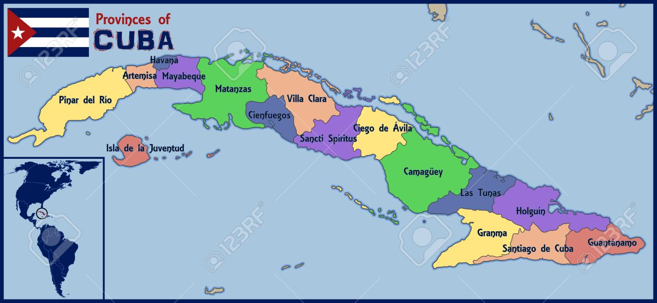 Location Map And Flag Of Cuba Royalty Free Cliparts Vectors And