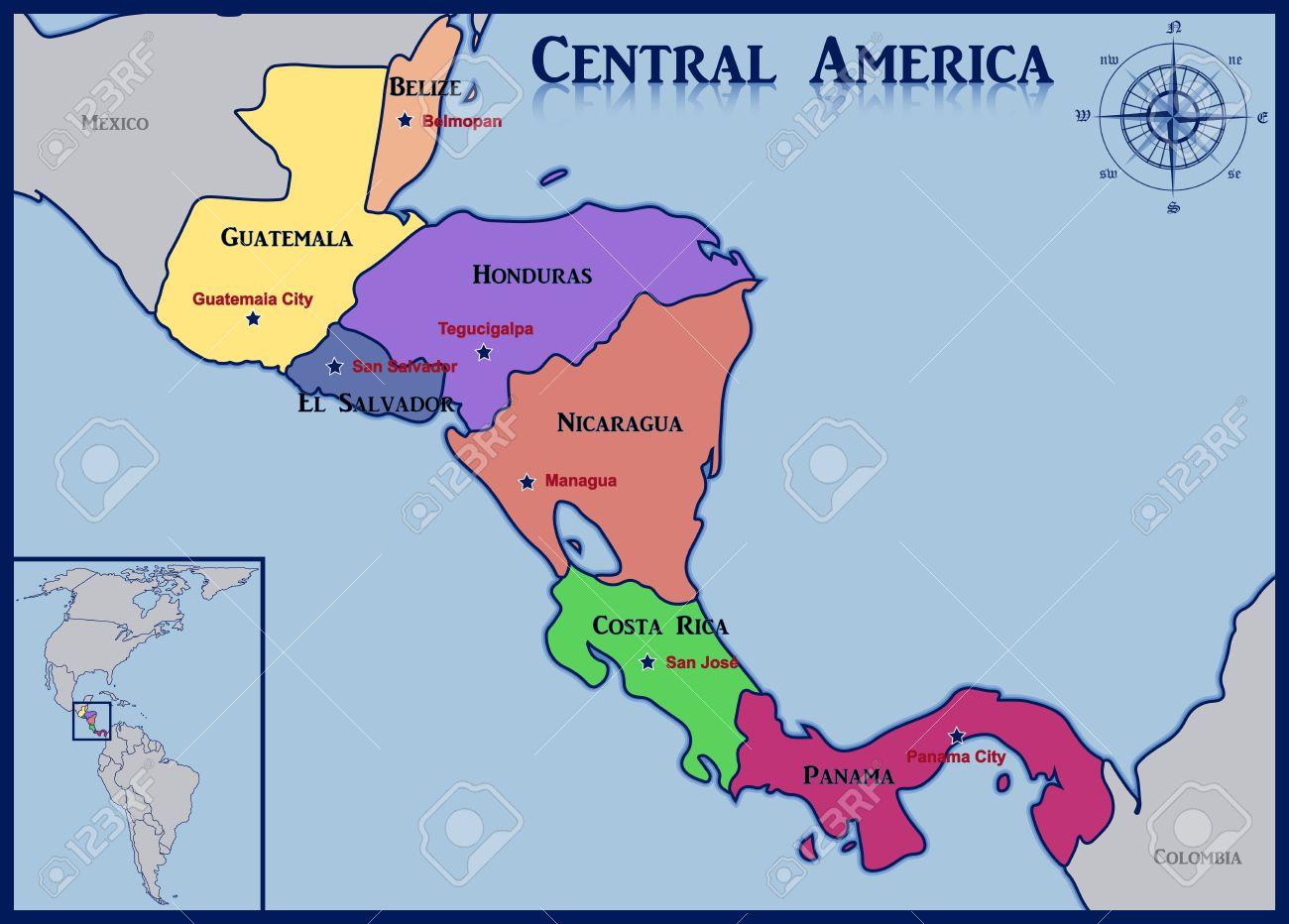 Ubicacion Y Mapa De Los Paises De America Central Ilustraciones Vectoriales Clip Art Vectorizado Libre De Derechos Image 43462788