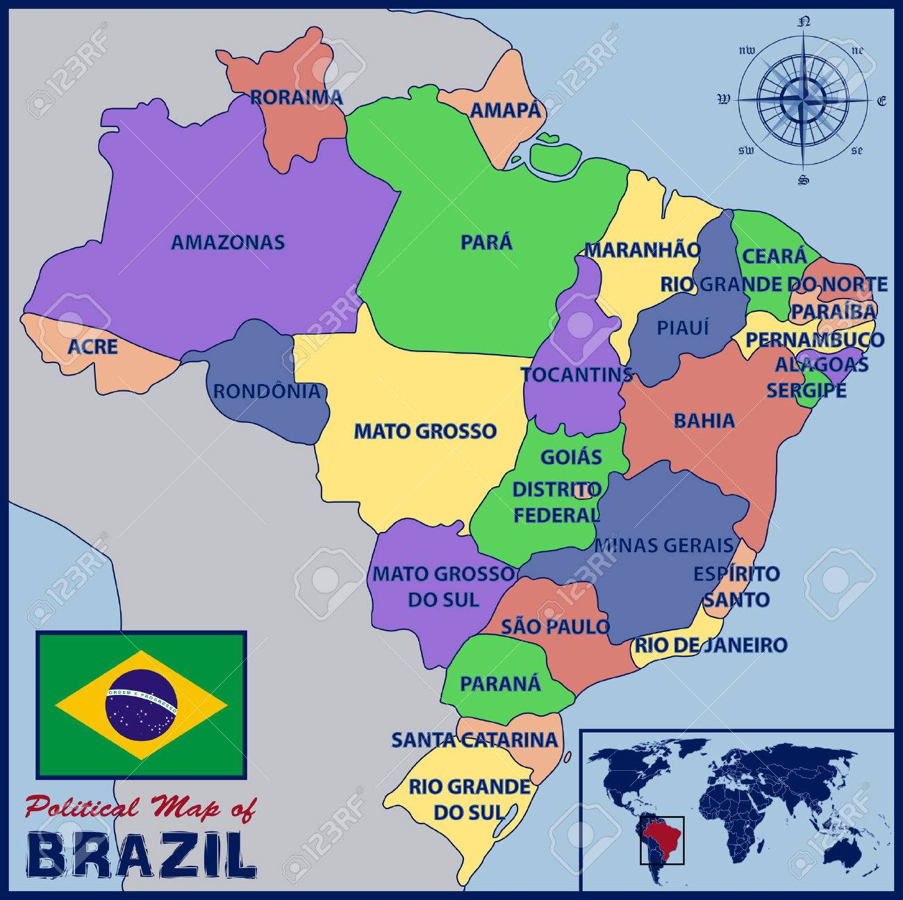Political Map Of Brazil Royalty Free Cliparts Vectors And Stock - Political map of brazil