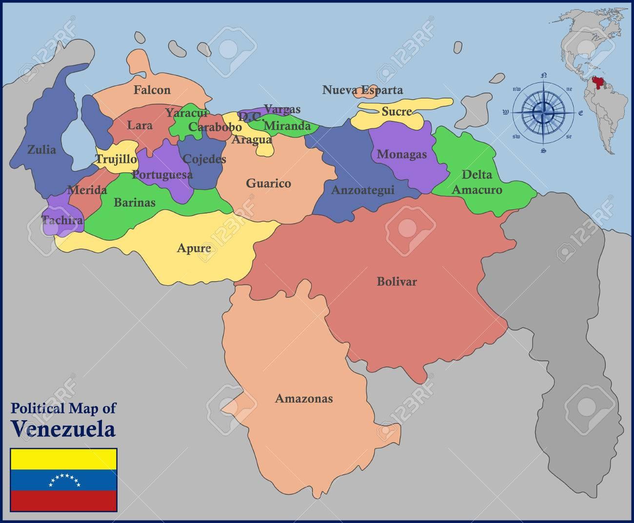 Mapa Politico De Venezuela Ilustraciones Vectoriales Clip Art Vectorizado Libre De Derechos Image 57221322