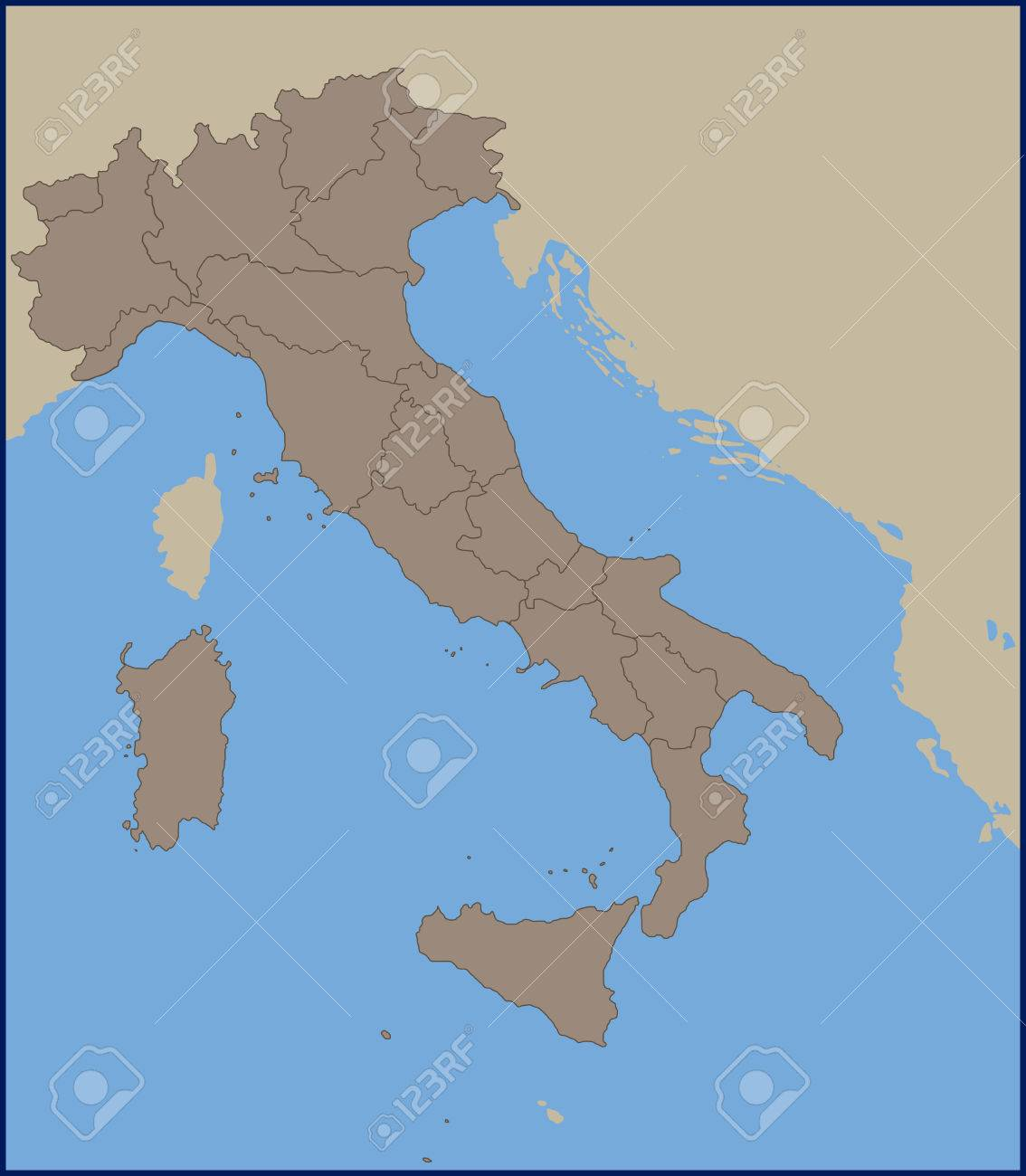 Empty Political Map Of Italy Royalty Free Cliparts, Vectors, And ...