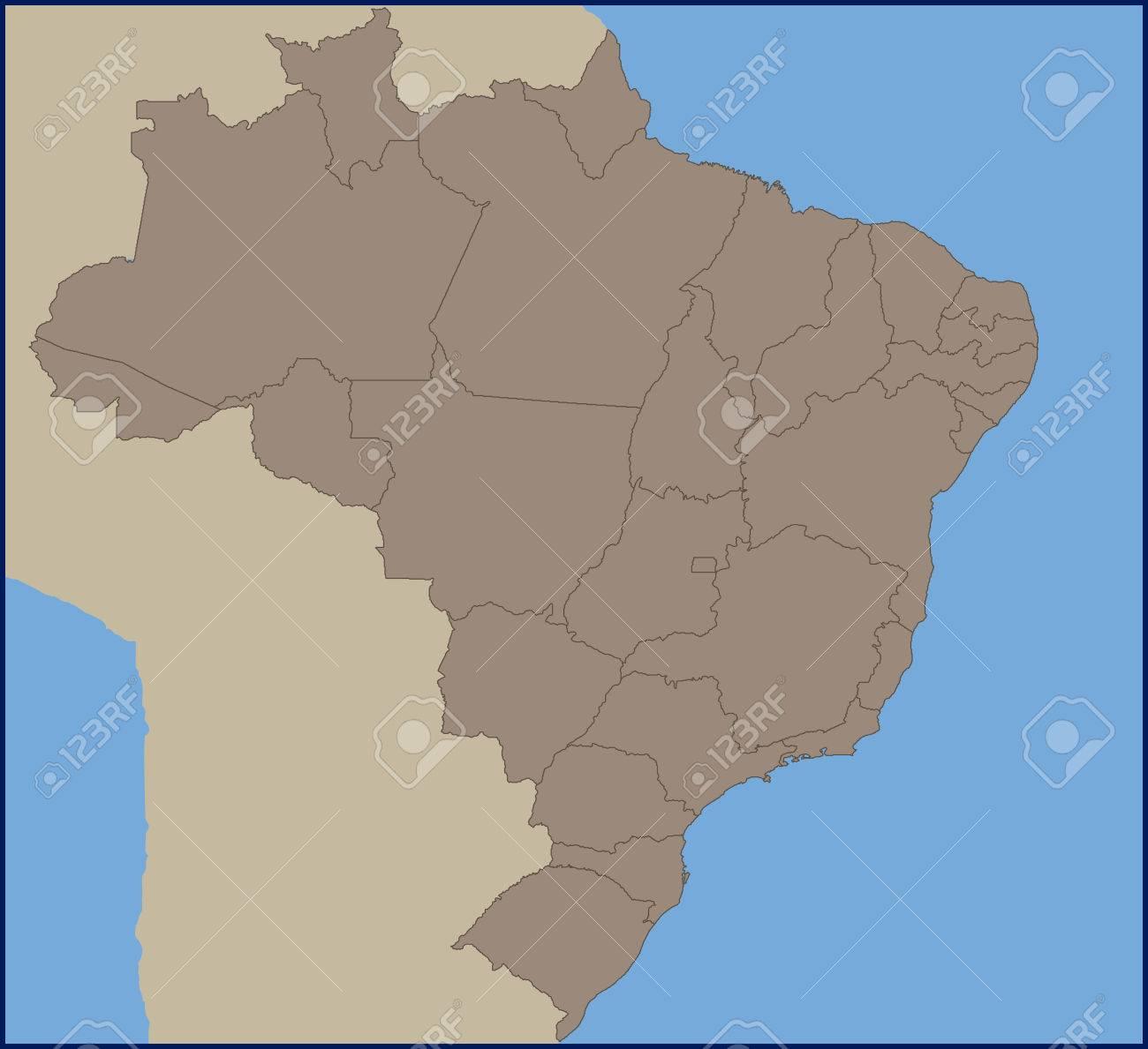 Empty Political Map of Brazil
