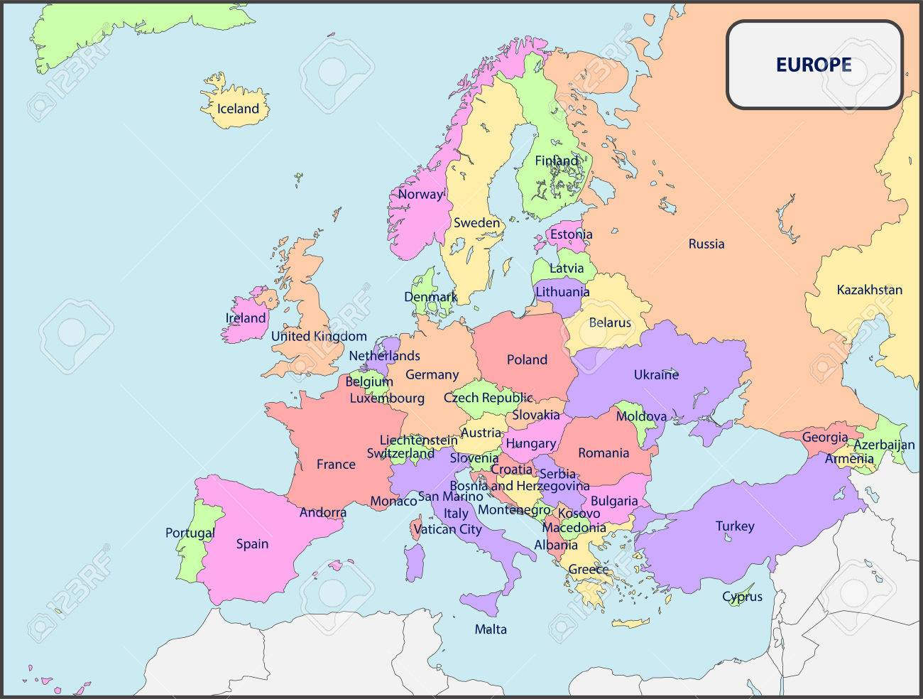 political map of europe with names stock vector 58292918