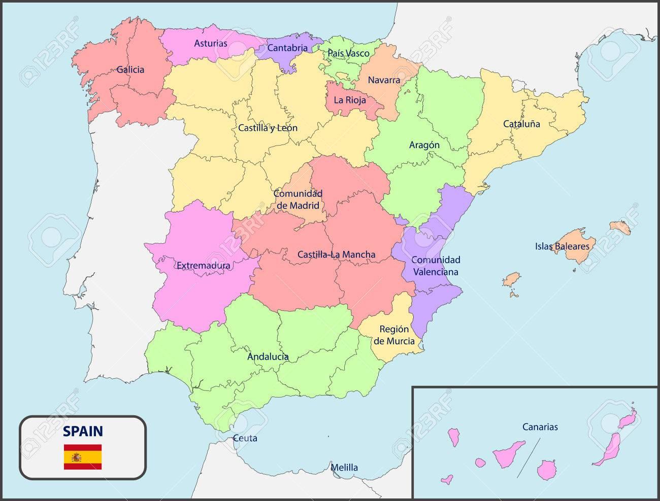 Map Of Spain Political.Political Map Of Spain With Names