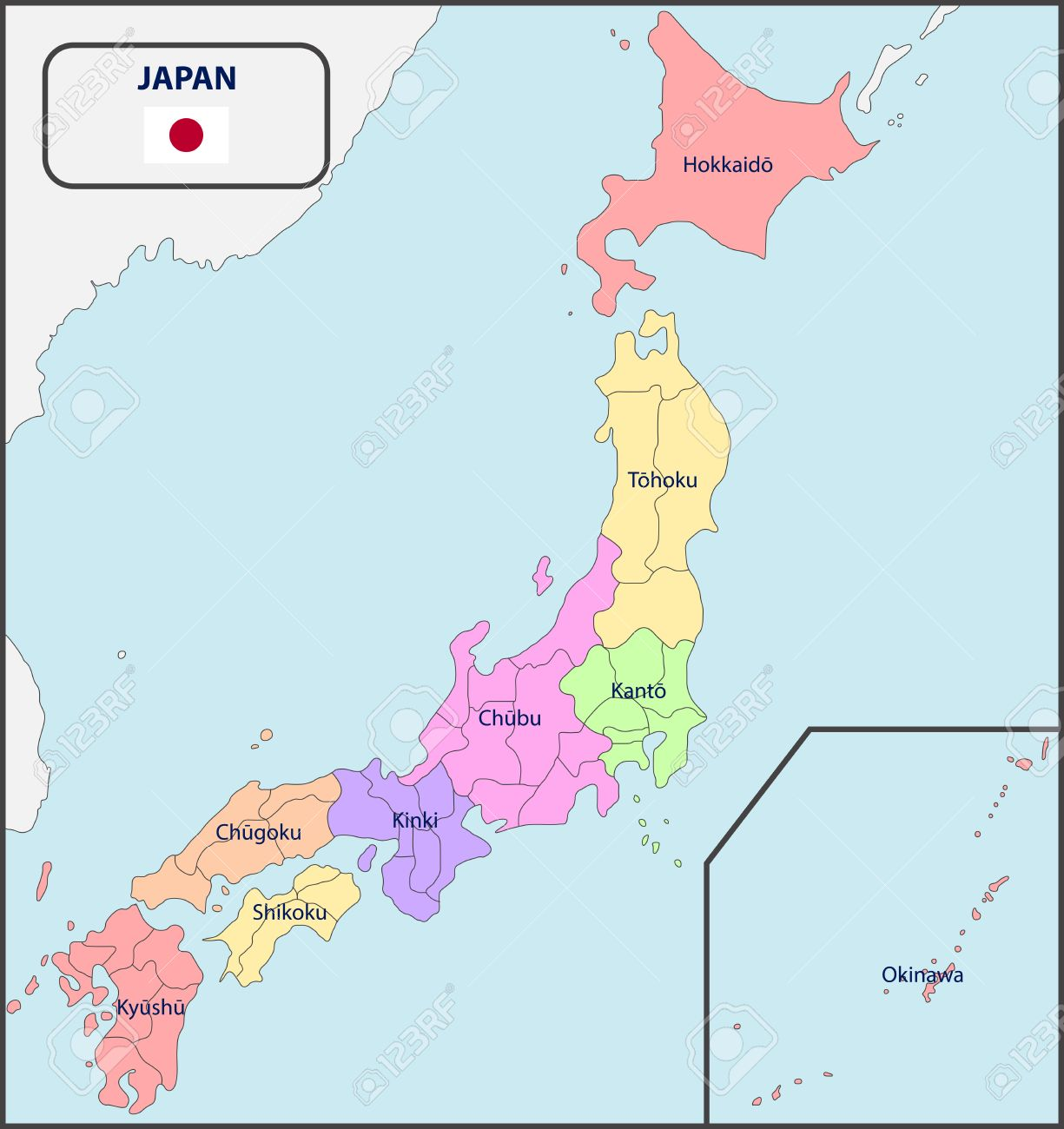 Political Map Of Japan With Names Royalty Free Cliparts, Vectors