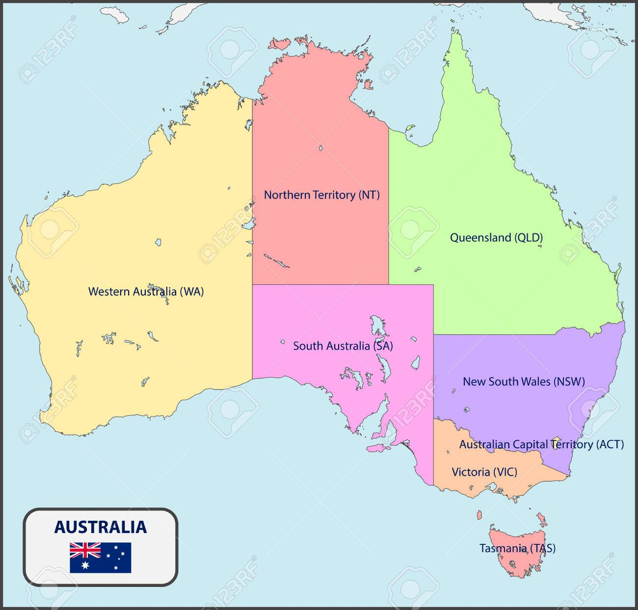 Political Map of Australia with Names
