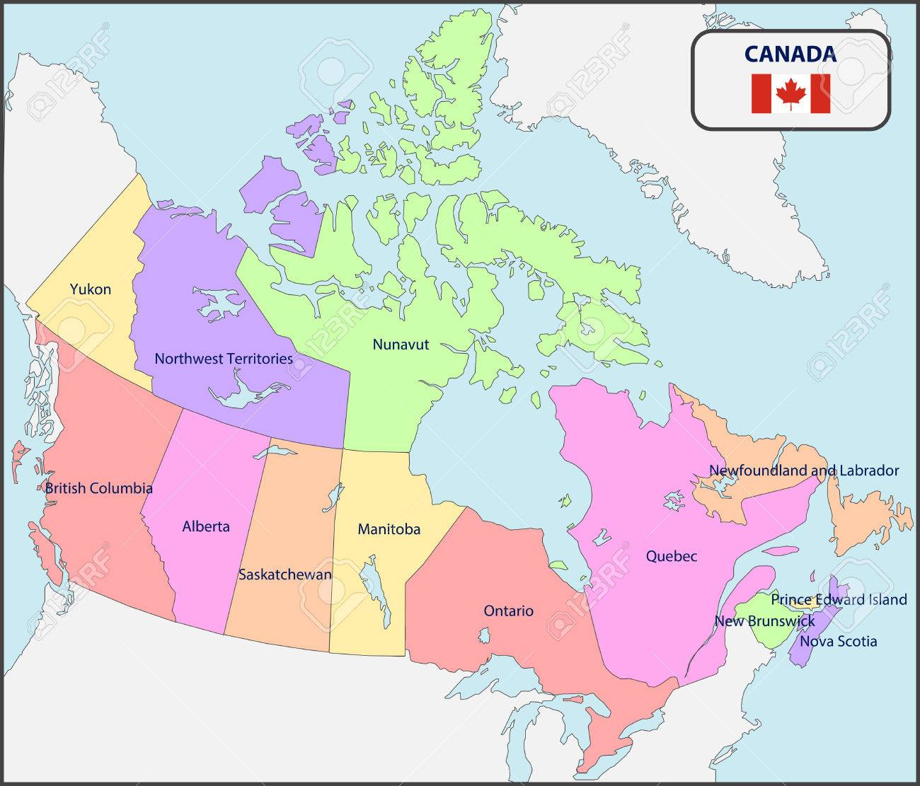 Mapa Politico De Canada Con Los Nombres