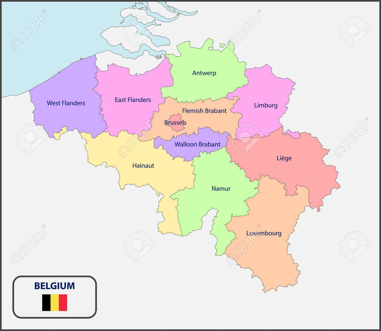political map of belgium with names stock vector 66549578