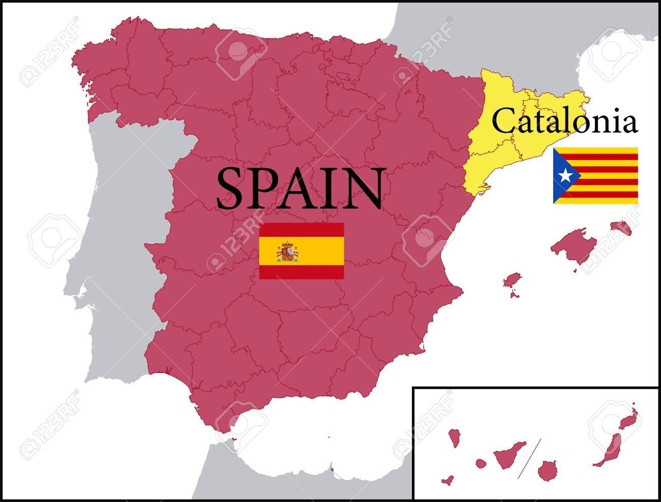Map Of Spain And Catalonia.Map Of Spain With Independent Catalonia