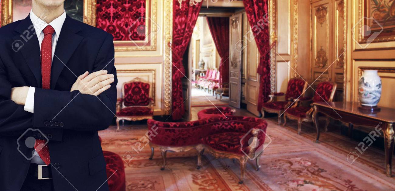 Staff Man Standing Inside Luxury Royal Palace Interior Stock Photo    33915606