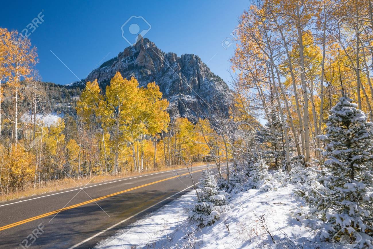 Autumn snow in the San Juan Mountains along route 145 - 70747543