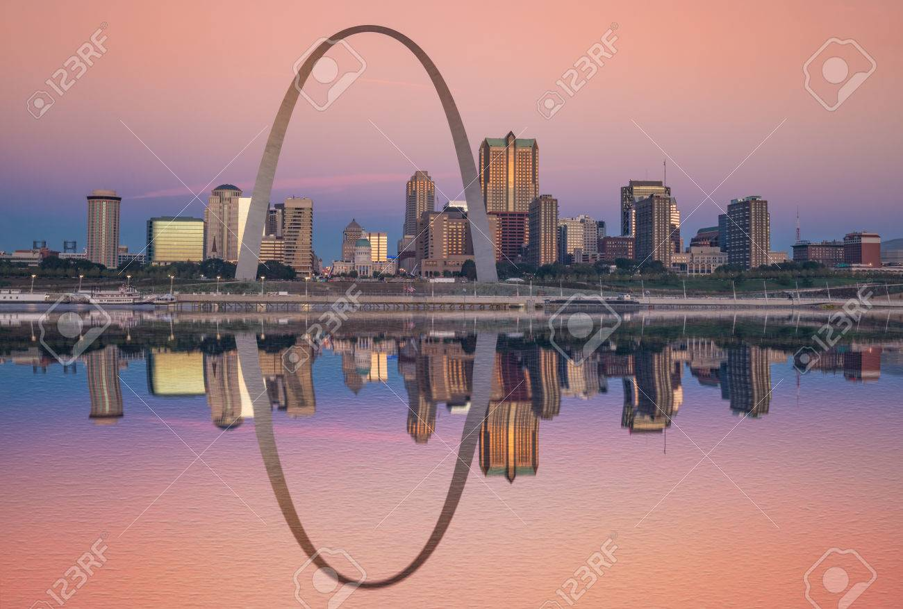 Sunrise reflection of the St Louis skyline along the Mississippi River - 74433474