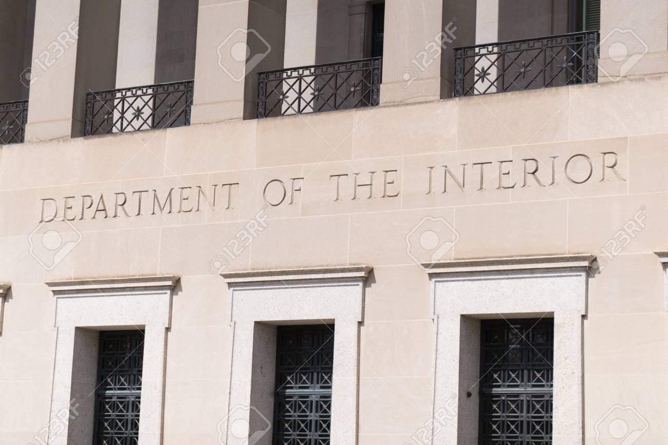 Facade Of Department Of The Interior Building In Washington Dc