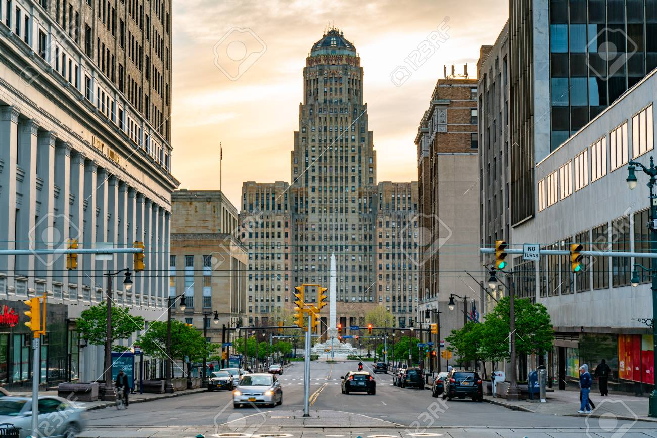 BUFFALO, NY - MAY 15, 2018: Looking down Court Street towards the Buffalo City Building and McKinley Monument in downtown Buffalo, New York - 105964701