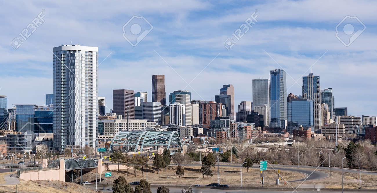 City skyline of Denver, Colorado along the South Platte River near the Speer Blvd bridge - 170692498