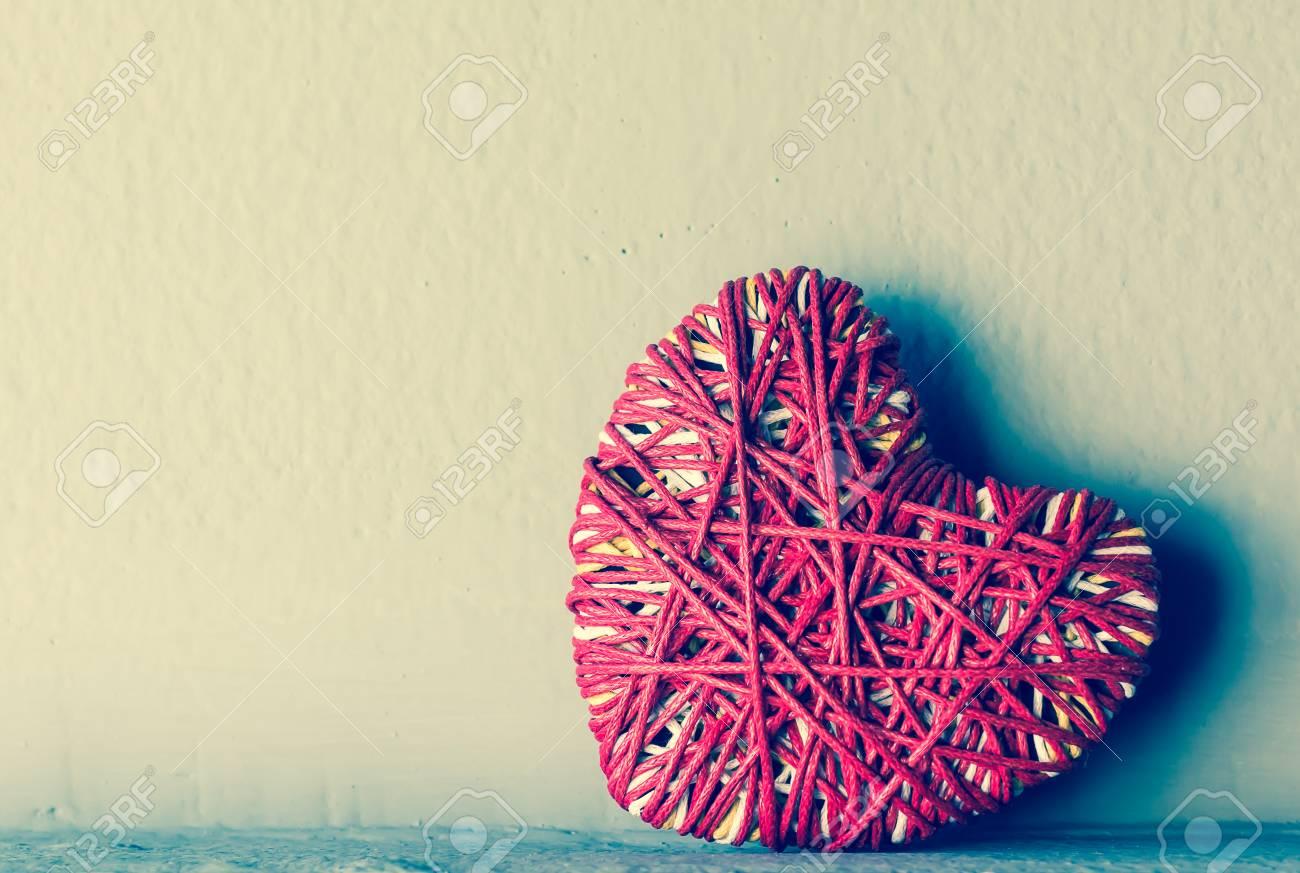Red heart yarn , vintage tone