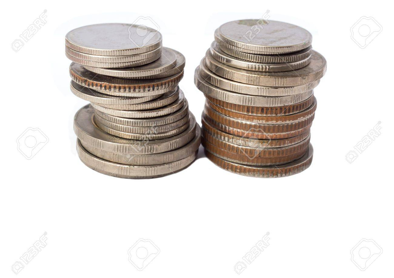 Isolate Style Picture Of Coin Rolls With Blank Area In Lower Stock