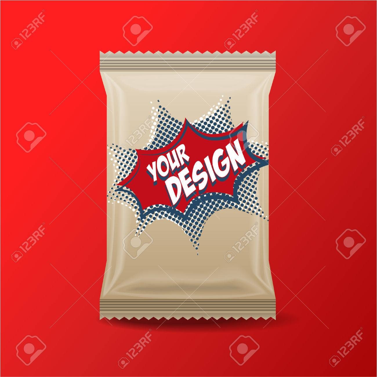 Foil Food Snack brown pack For biscuit, wafer, crackers, sweets, chocolate bar, candy bar, snacks etc. Plastic Pack Template for your design and branding. - 53167562