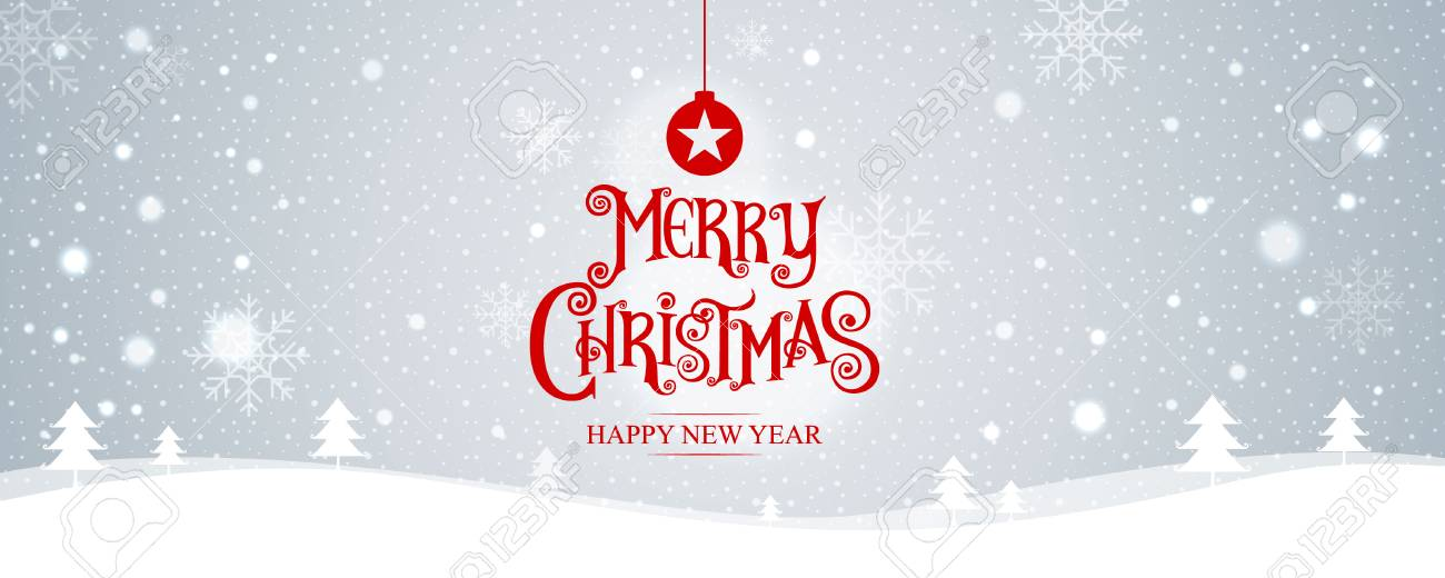 Merry Christmas. happy new year. Vector Illustration. Lettering Design With Stars And Sparkles. landscape background, snow, banner design. - 69006221