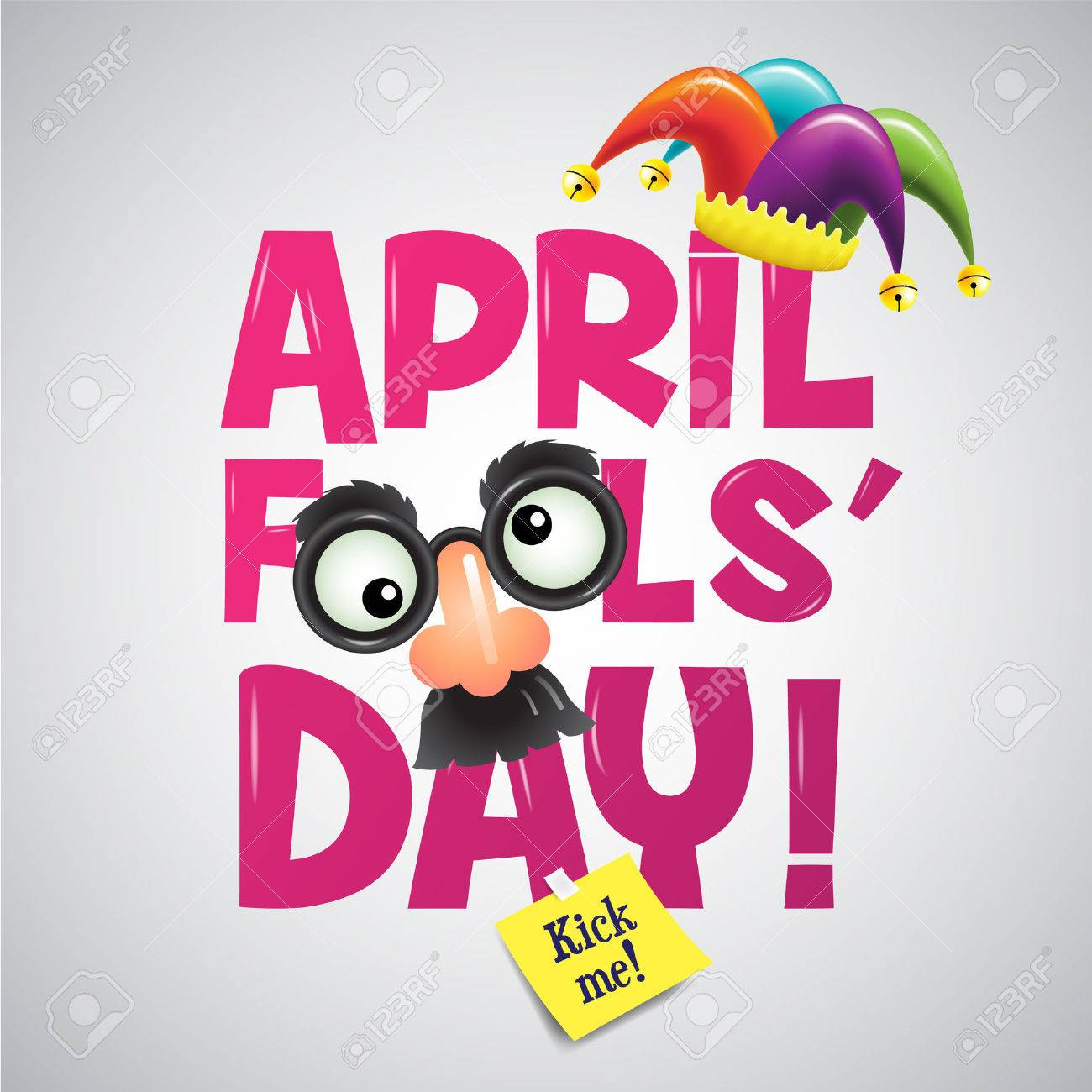 April fool's day, Typography, Colorful, vector illustration. - 74156356