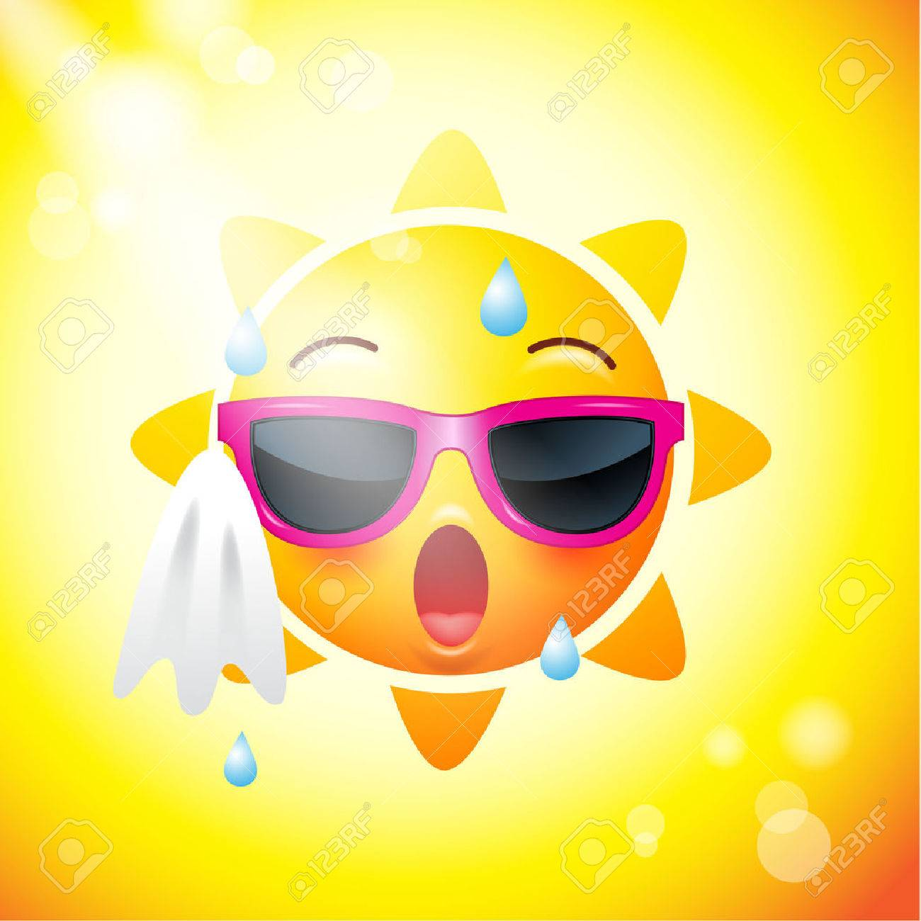 Sun face icons or yellow , funny faces in realistic   emojis
