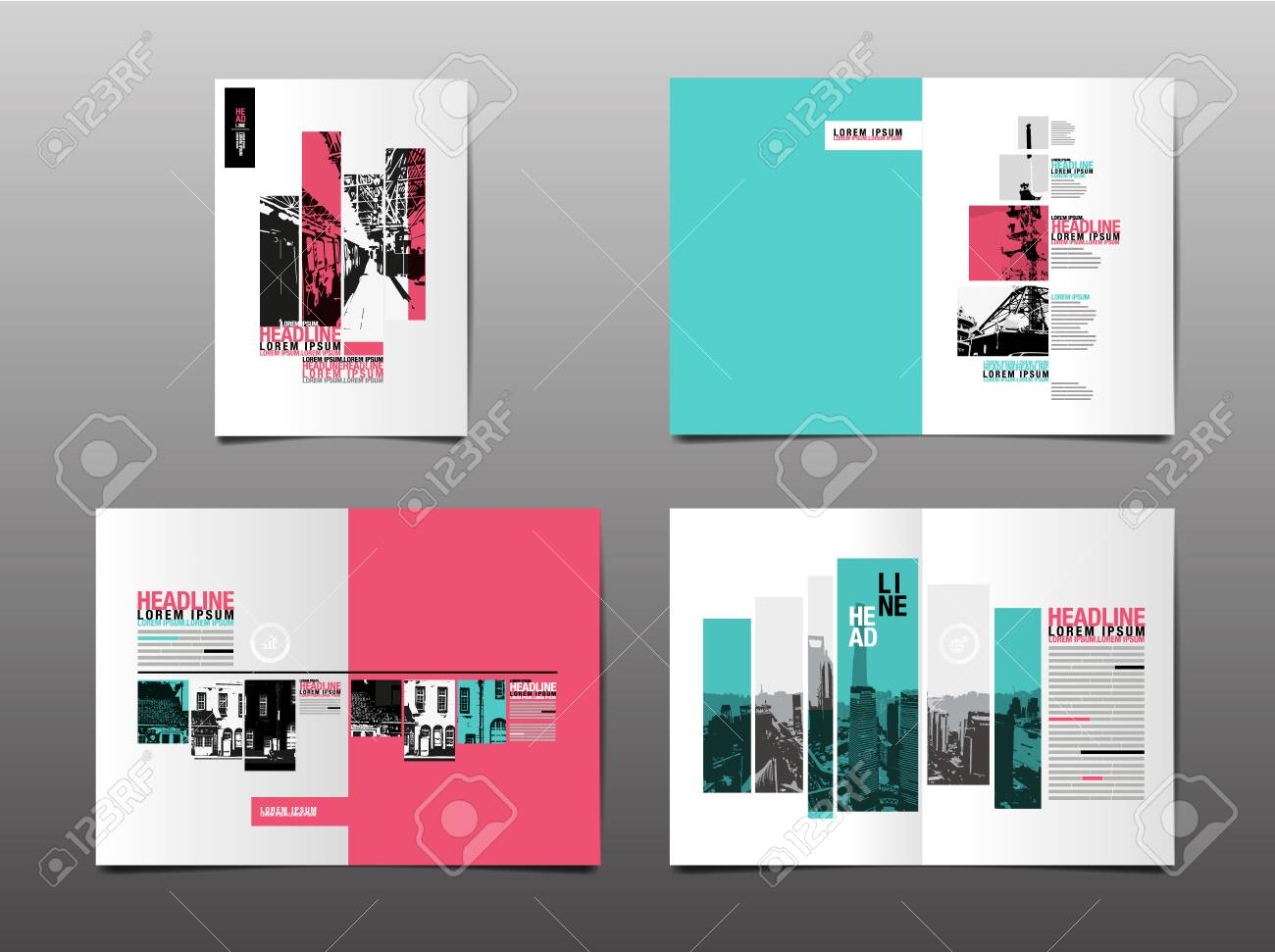 Annual report ,template layout design, cover book. vector - 91375836