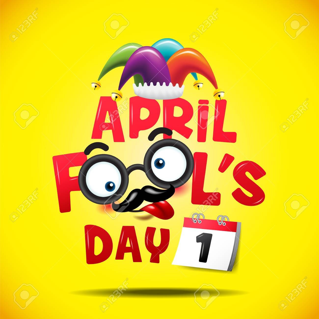 April fool's day, Typography, Colorful, vector illustration. - 95612017