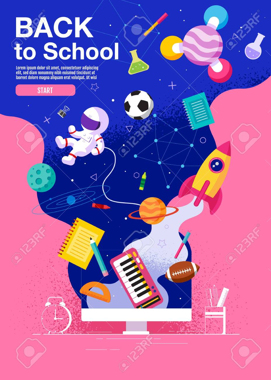 back to school ,inspiration, poster, flat design colorful, vector - 131995913