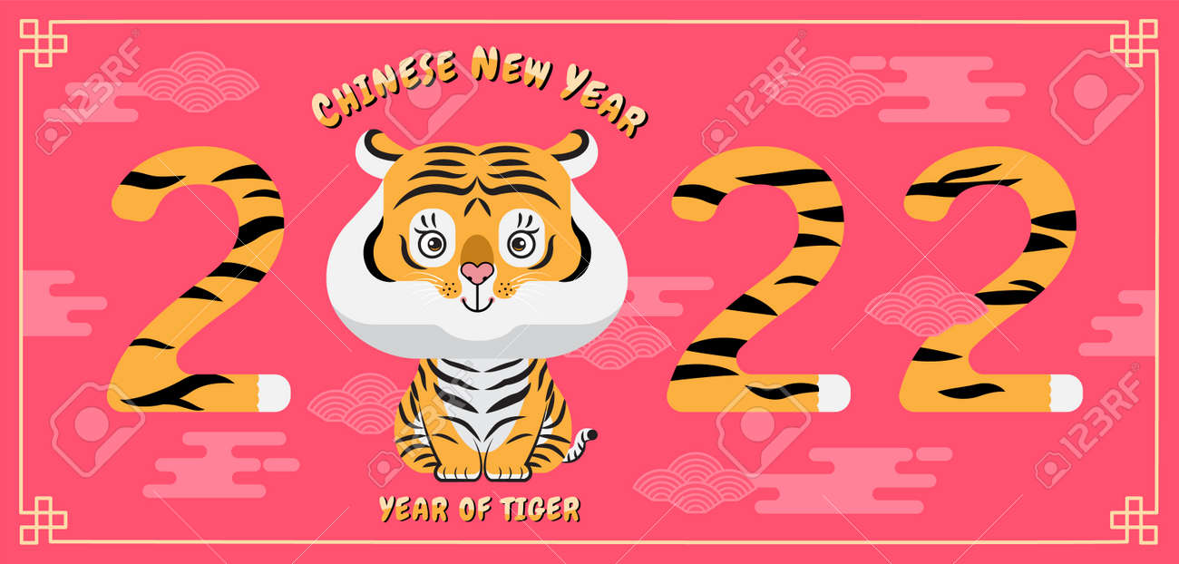 Happy new year, Chinese New Year, 2022, Year of the Tiger, cartoon character, cute Flat design (Translate : Tiger ) - 171760620
